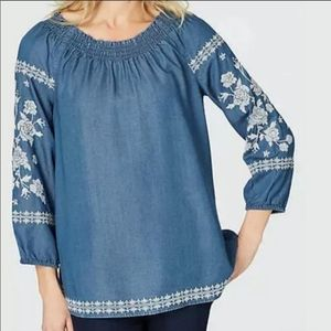 J.Jill Denim Embroidered Blouse